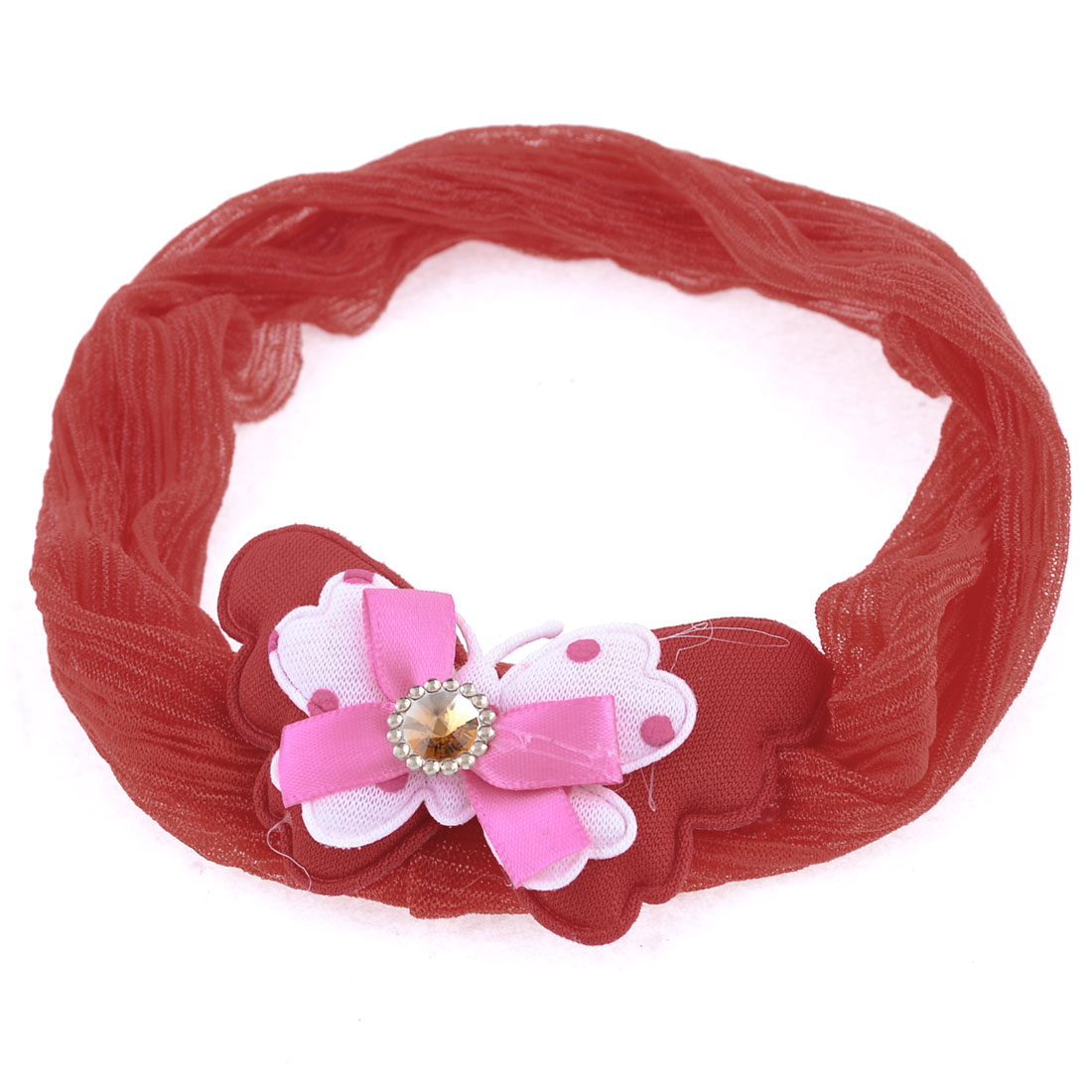 Bright Red Two Layer Bowknot Faux Crystal Inlay Chiffon Ponytail Holder