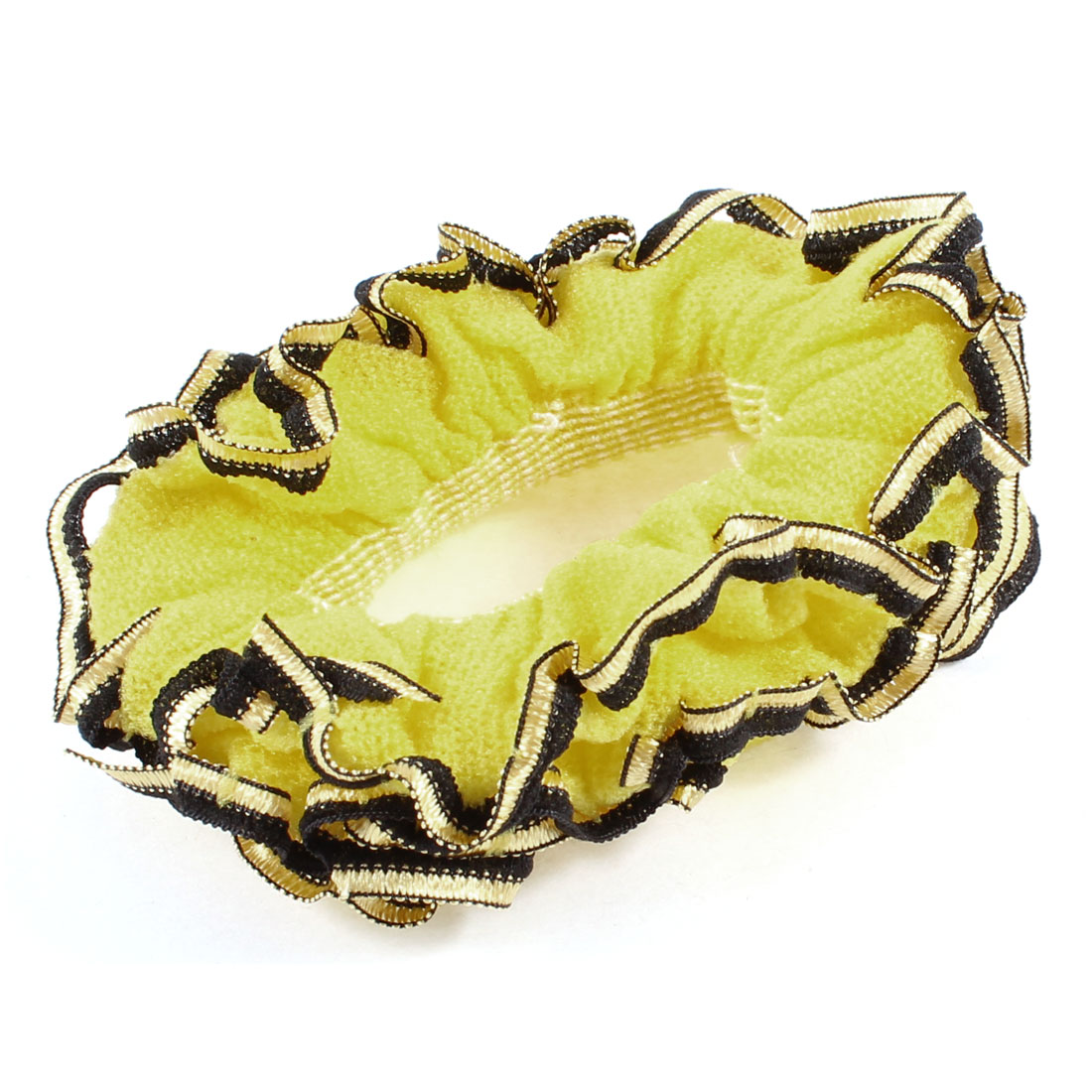 Three Layers Black Lace Yellow Flower Decoration Hair Ponytail Holder