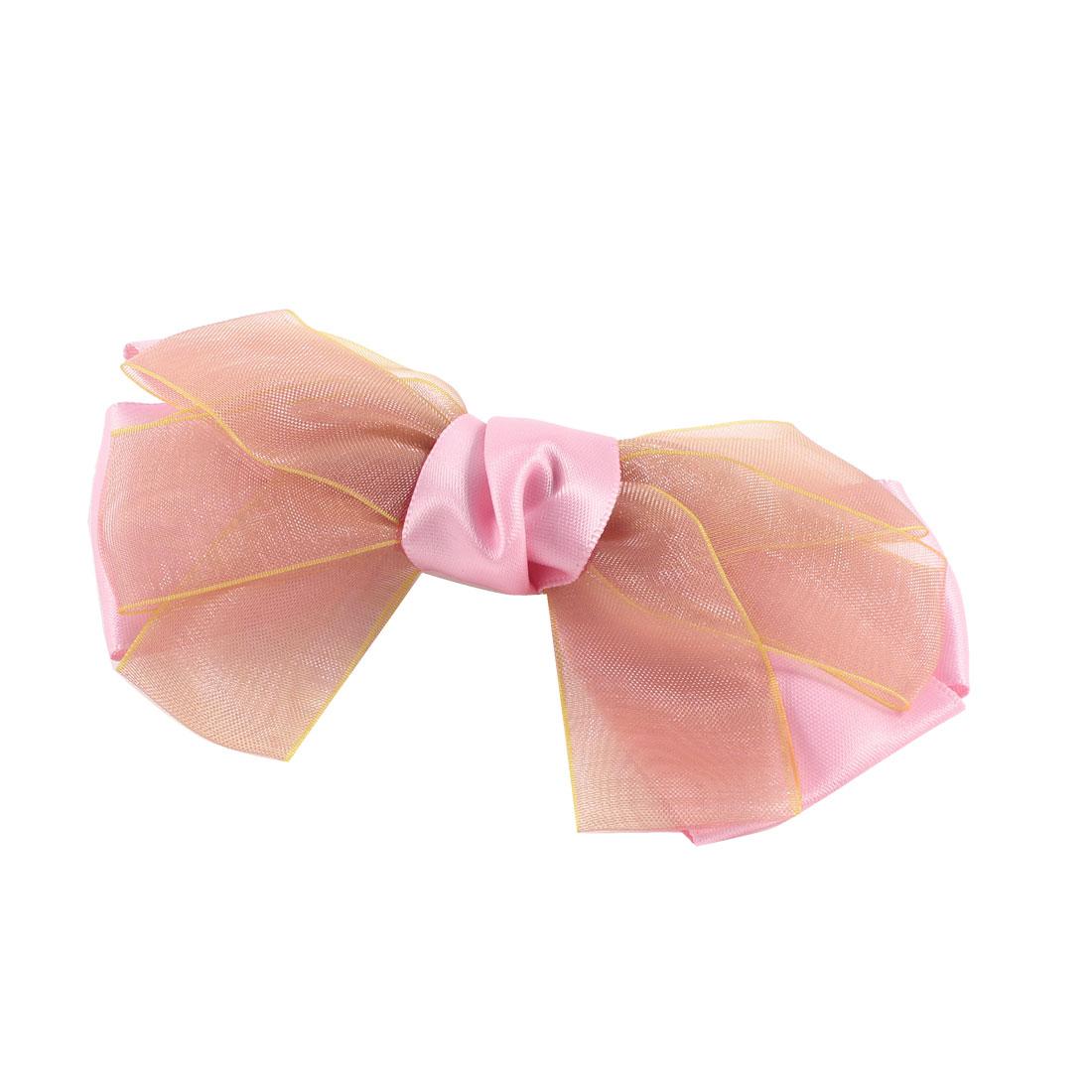 Girls Pink Bowtie Decoration Alligator Hair Clip