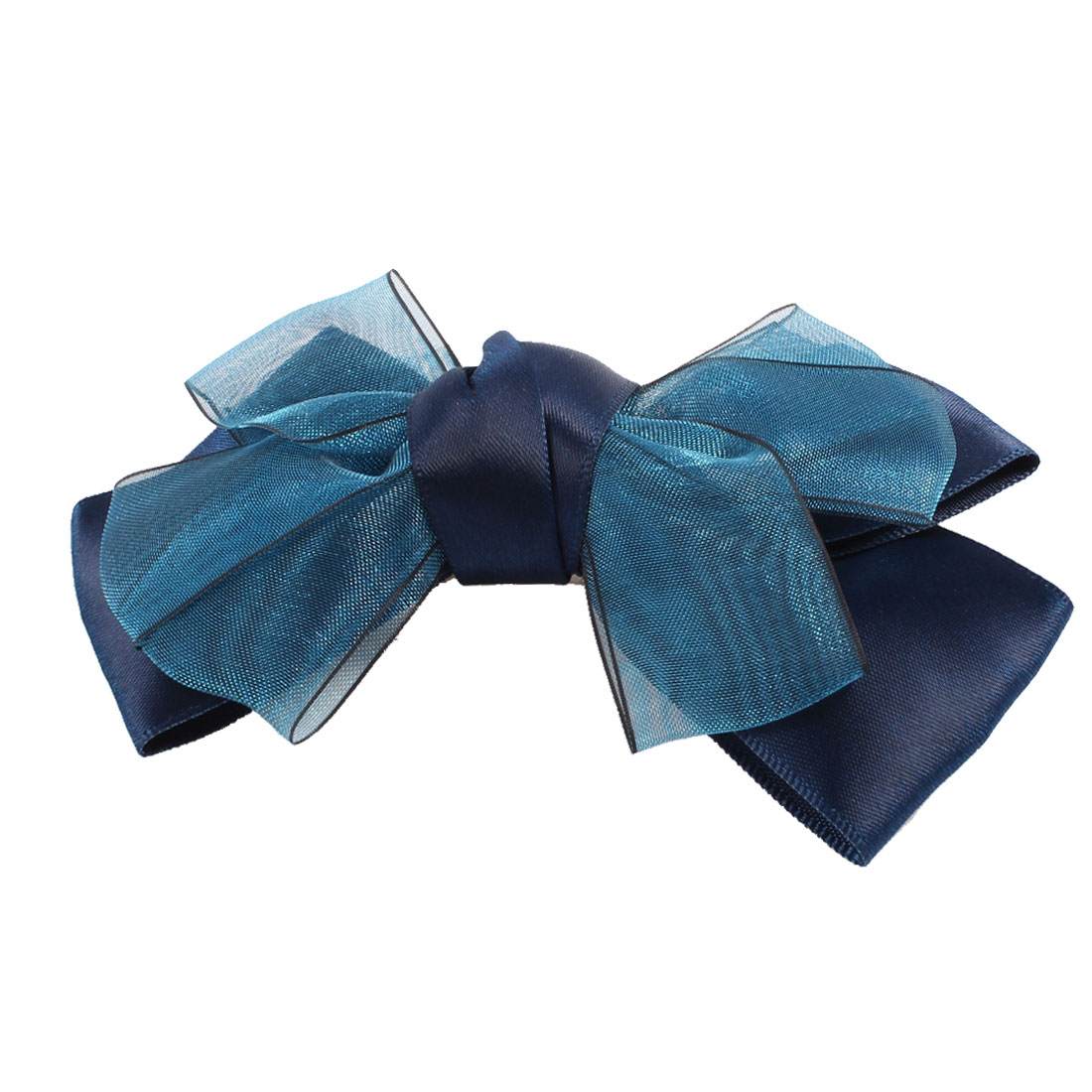 Lady Navy Blue Polyester Bowtie Ornament Alligator Hair Clips
