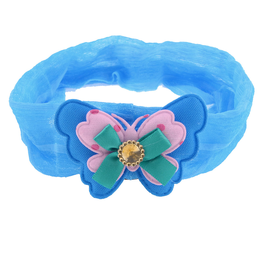 Blue Two Layer Bowknot Faux Crystal Inlay Chiffon Ponytail Holder