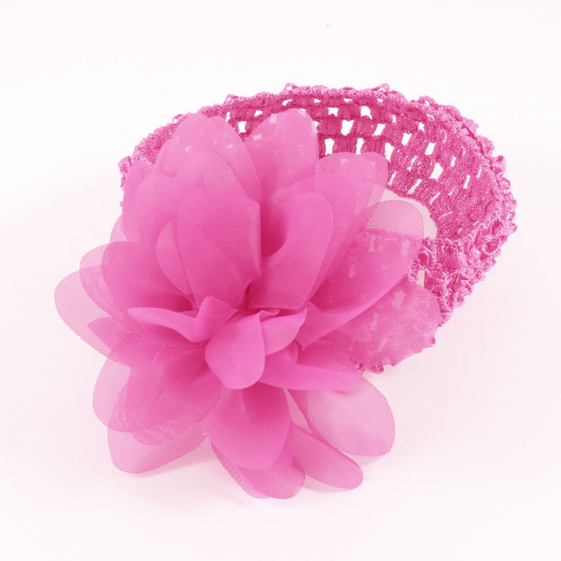 Pink Organza Flower Accent Elastic Headband for Women