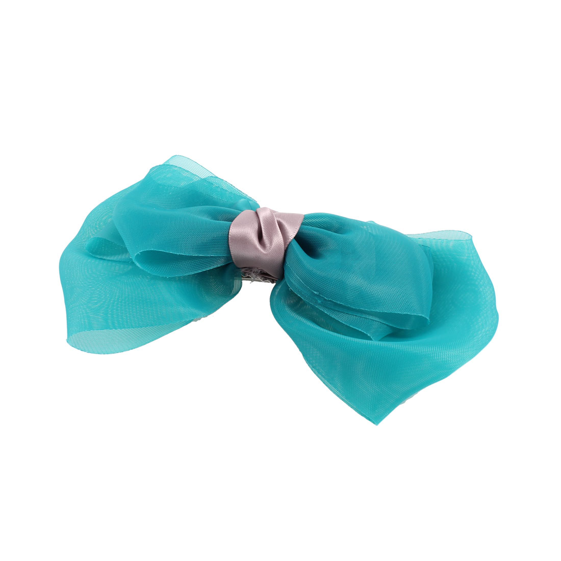 Lady Dark Cyan Organza Bowknot Ornament Alligator Hair Clips