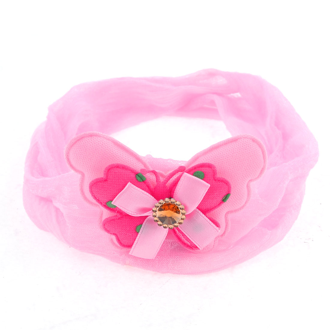 Pink Two Layer Bowknot Faux Crystal Inlay Chiffon Ponytail Holder