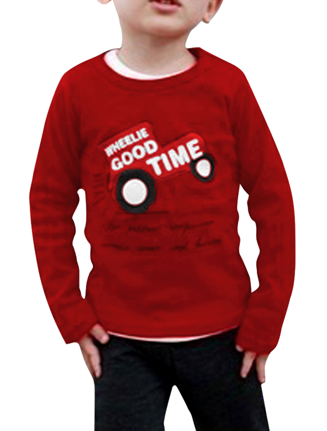 2013 New Fashion Boys Round Neck Long Sleeve Red Spring T-Shirt 6