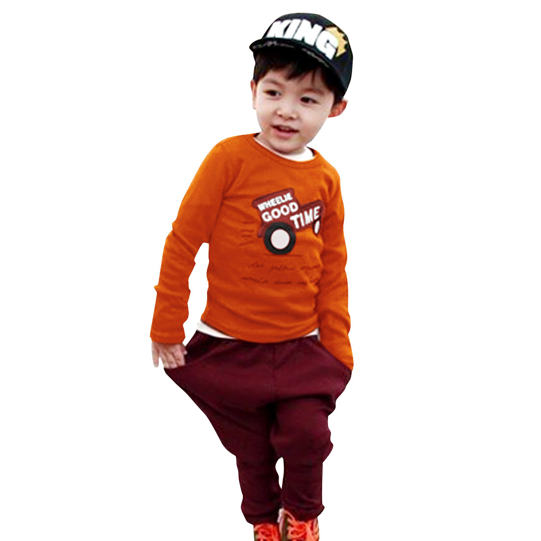 Dark Orange Color Round Neck Long Sleeve T-Shirt for Boys 4