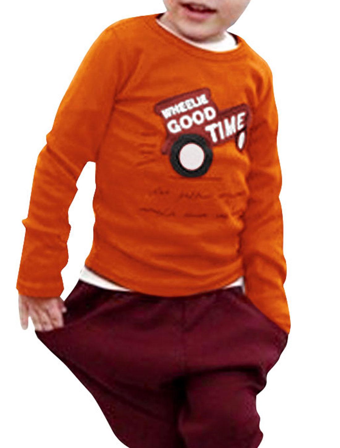 Boys Round Neck Long Sleeve Dark Orange Autumn T-Shirt 5