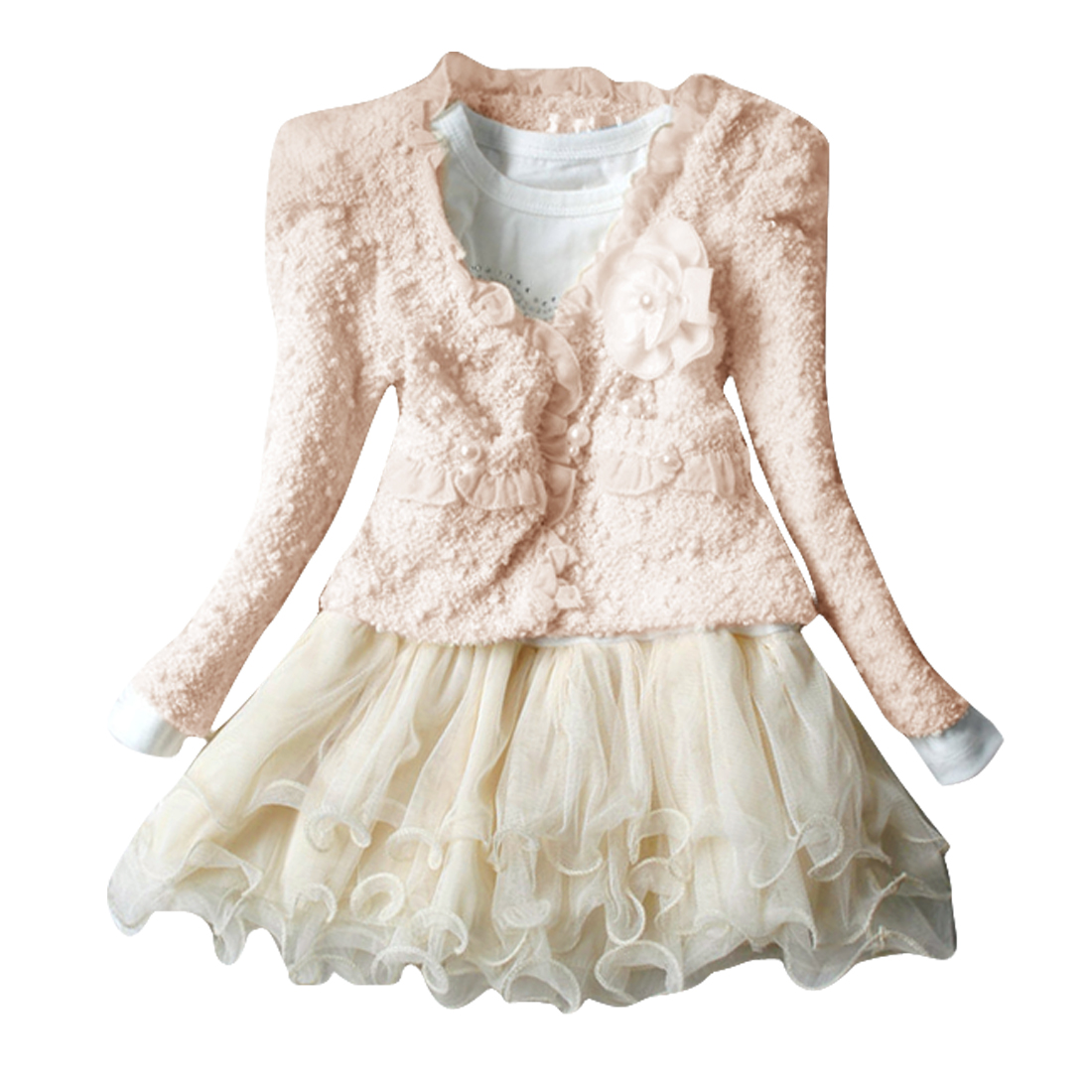 Beige 3T Front Pockets Scalloped Cardigan w Autumn Dress for Girls