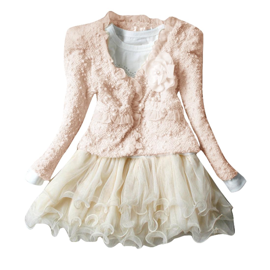 Kids Open Front Long Sleeve Cardigan w Girls Splice Dress 4T Beige