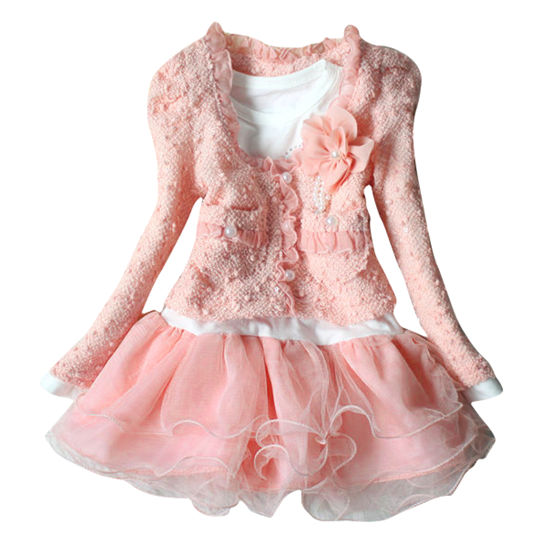 Girls Front Closure Cardigan w Round Neck Long Sleeve Dress Pink 3T