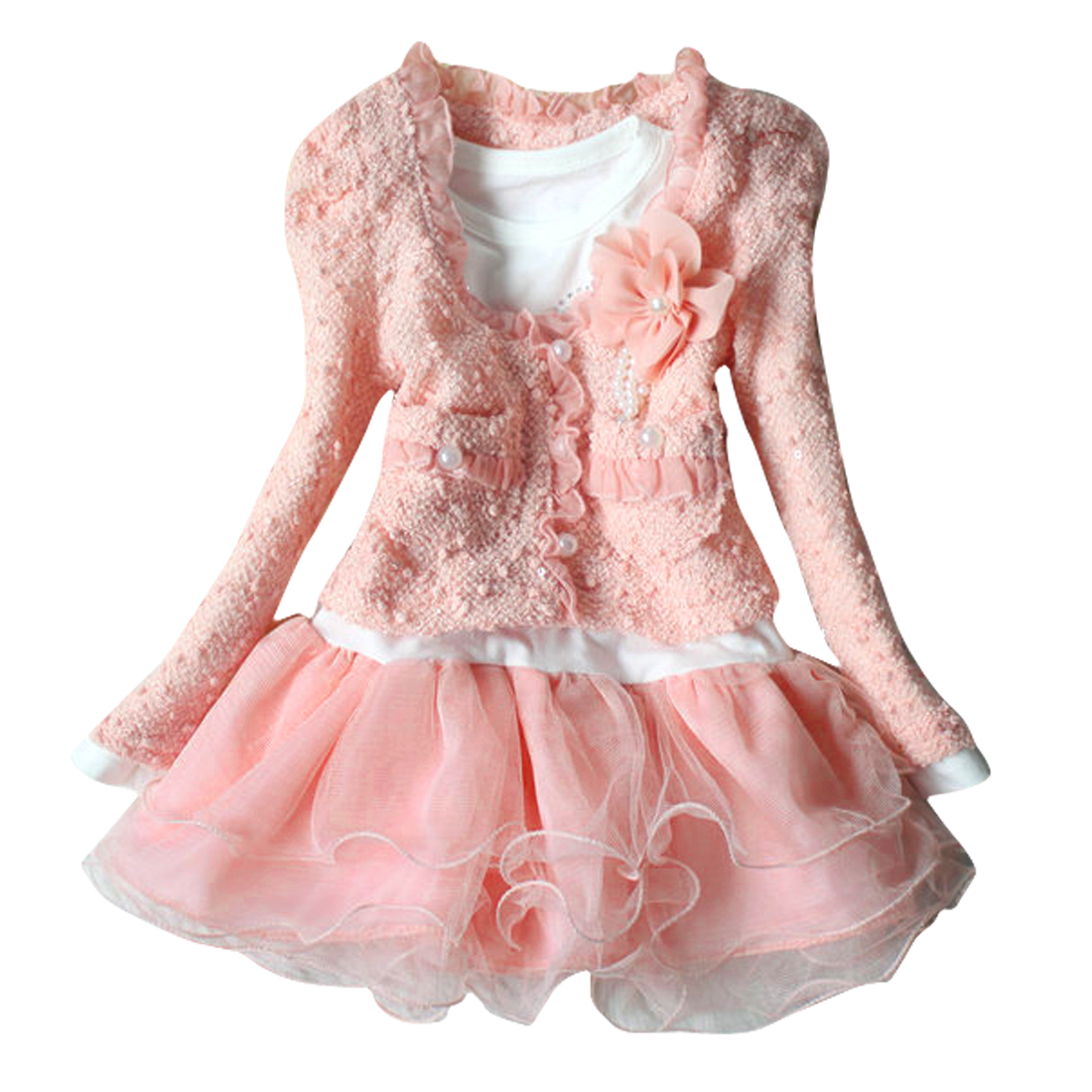 4T Pink Front Pockets Scalloped Cardigan w Butterfly Print Dress for Girls