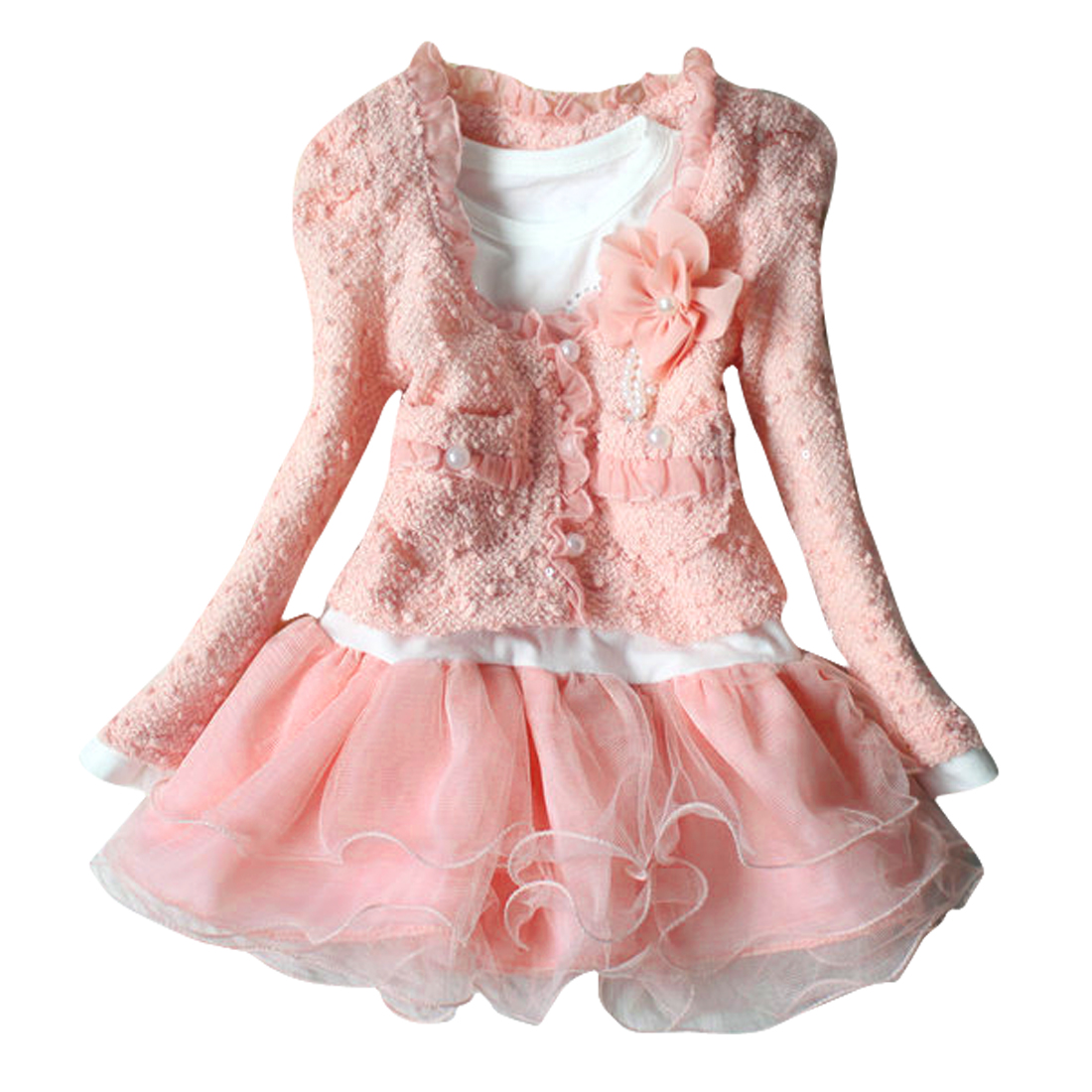 Open Front Long Sleeve Cardigan w Girls Panel Princess Dress 5 Pink