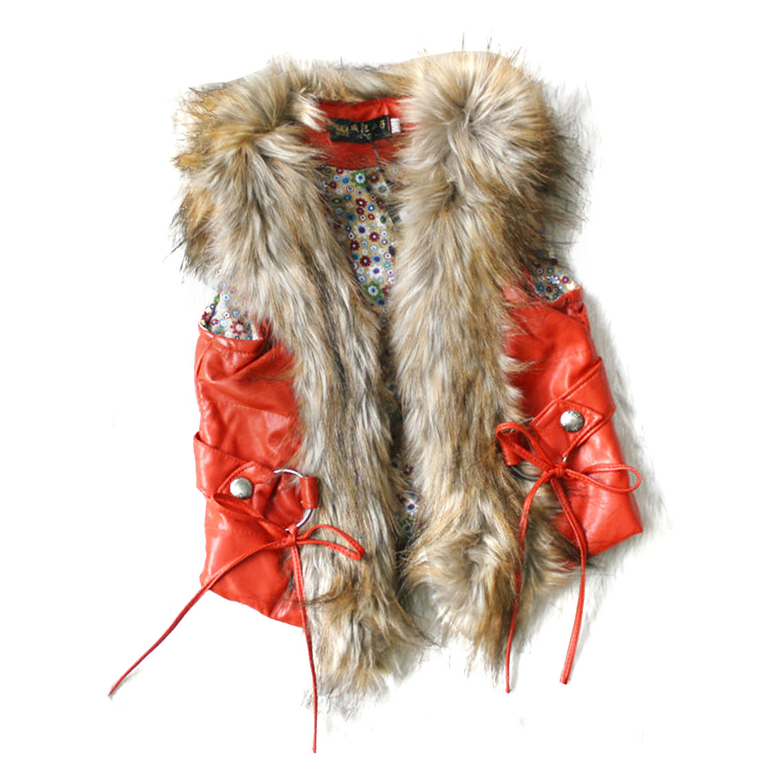 Girls V Neck Sleeveless Faux Fur Decor Vest Orange Red 12 Month