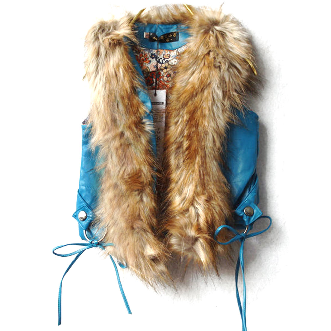 Stylish Girls V Neck Faux Fur Decor Vest Turquoise 12 Month