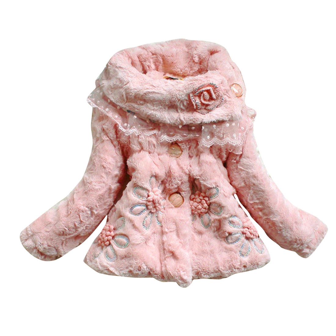 Girls Convertible Collar Pink Flower Paillette Long Sleeve Coat 4