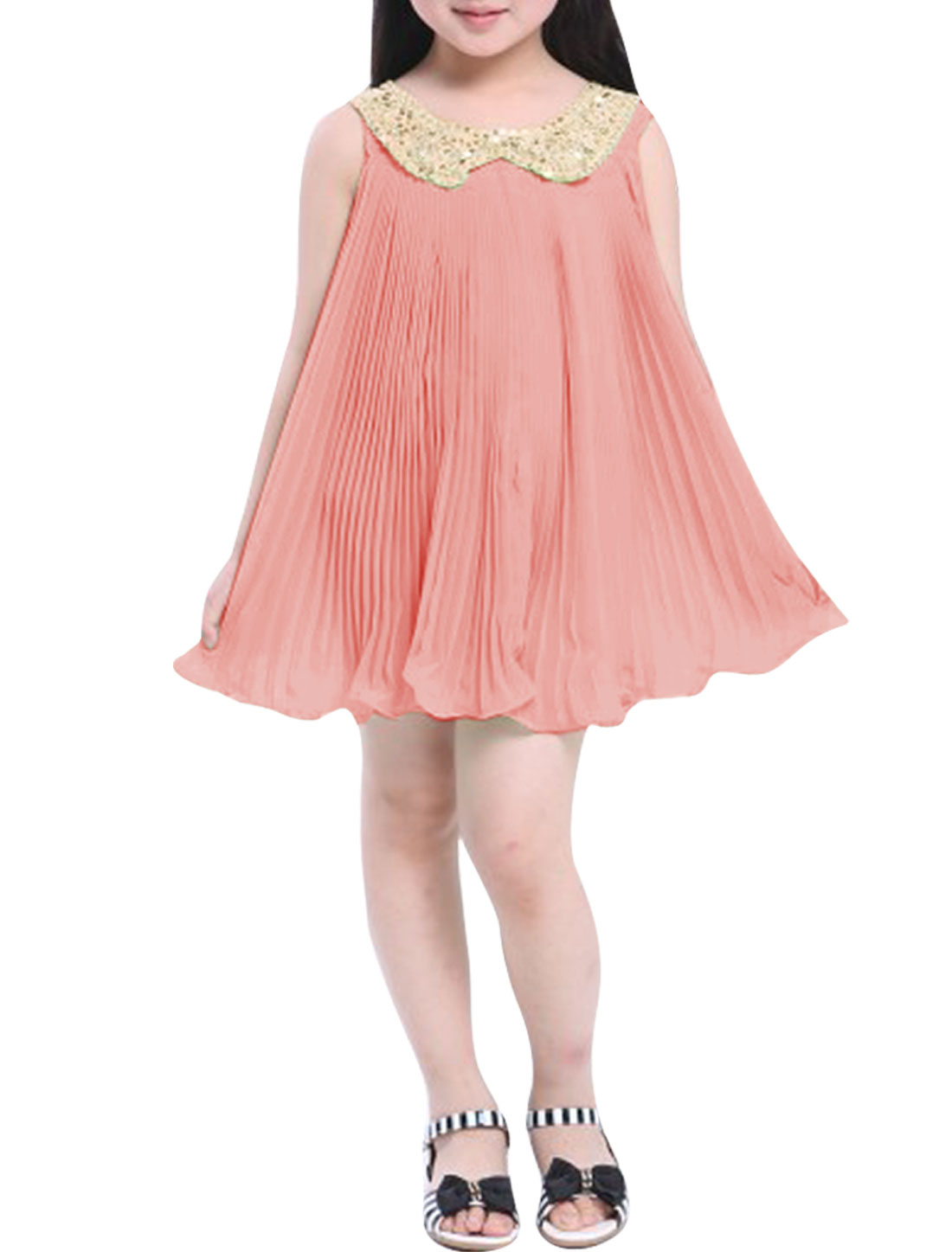 Girls Crochet Sequined Doll Collar Sleeveless Pleated Pink Babydoll Dress 7