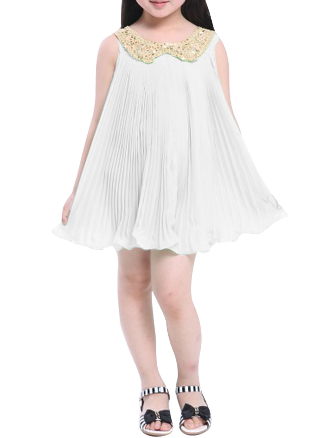 White Color Sequined Peter Collar Summer Babydoll Dress for Girls 12