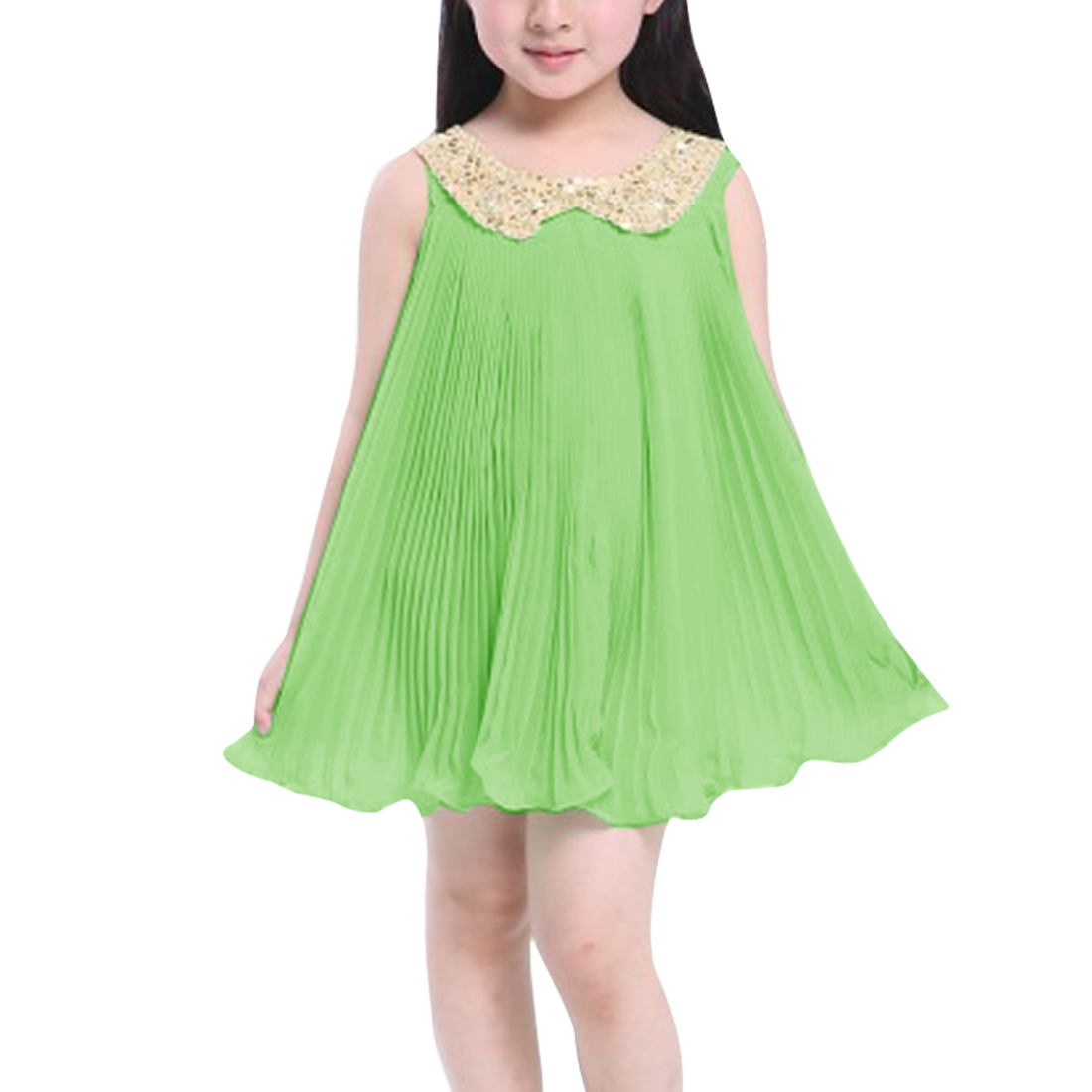 Fresh Light Green Color Sleeveless Pleated Babydoll Dress for Girl 7