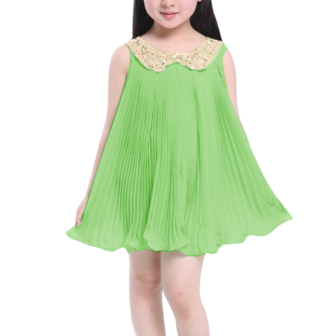 Light Green Pleated Ruffled Hem Design Babydoll Dress for Girl 10