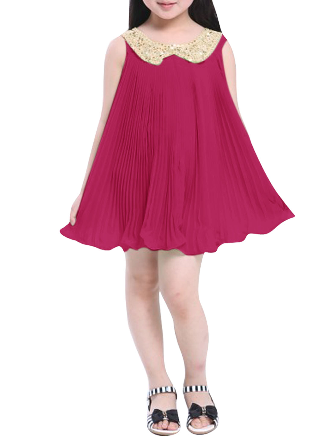 Pullover Fuchsia Color Pleated Sequined Dress for Girl 12