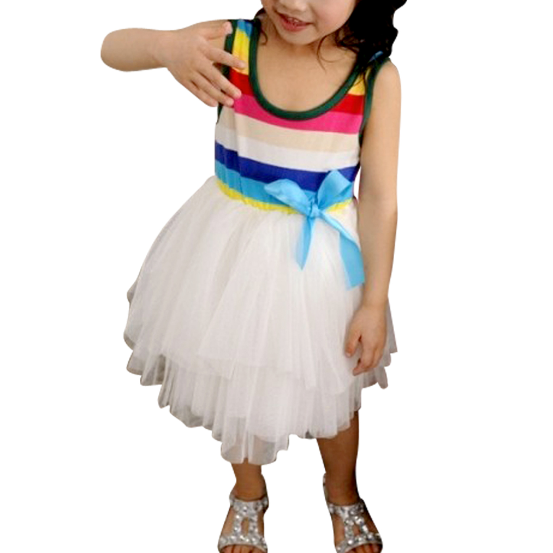 Girls Scoop Neck Bowknot Decor Stretchy Waist Pretty Multicolor Tutu Dress