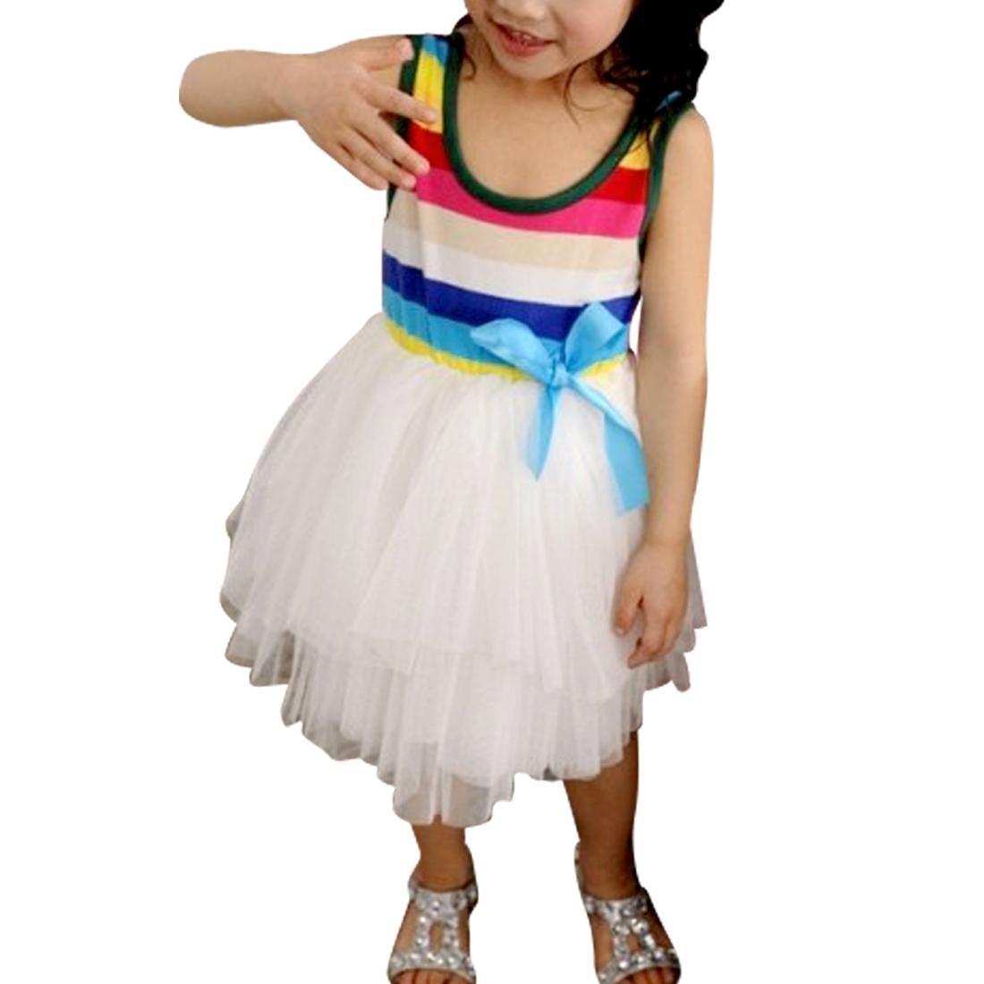 Kids Elegant Scoop Neck Sleeveless Multicolor Ruffle Dress 4