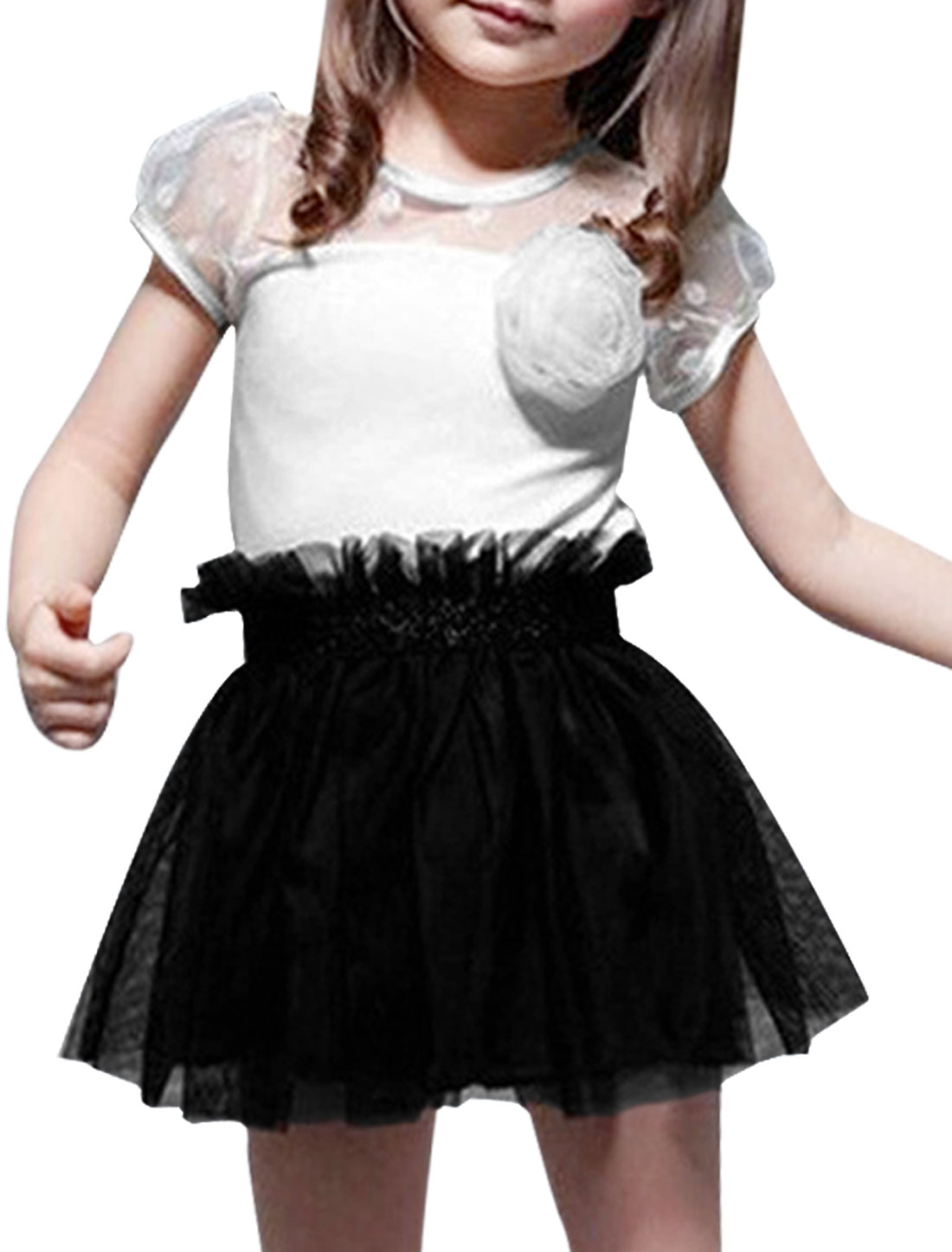 Girls Round Neck Color Block Elastic Waist Dress White Black 3T