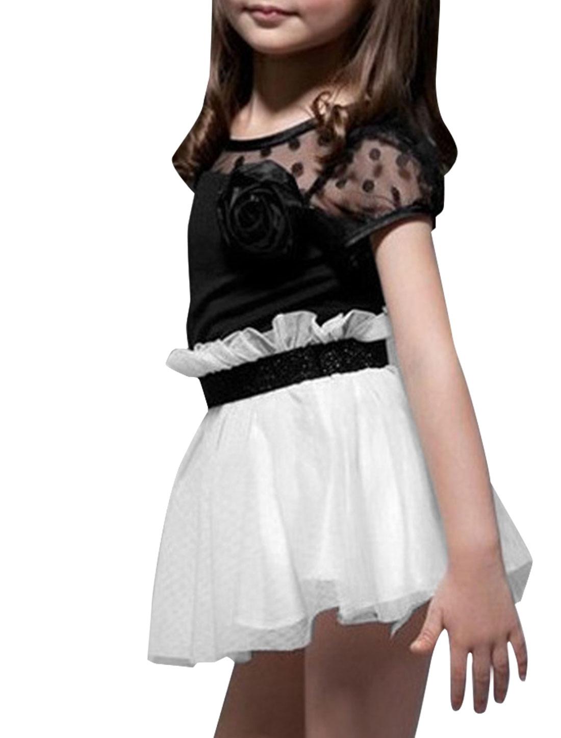 Kids Girls Splice Style Stretchy Waist Round Hem Dress White Black 4