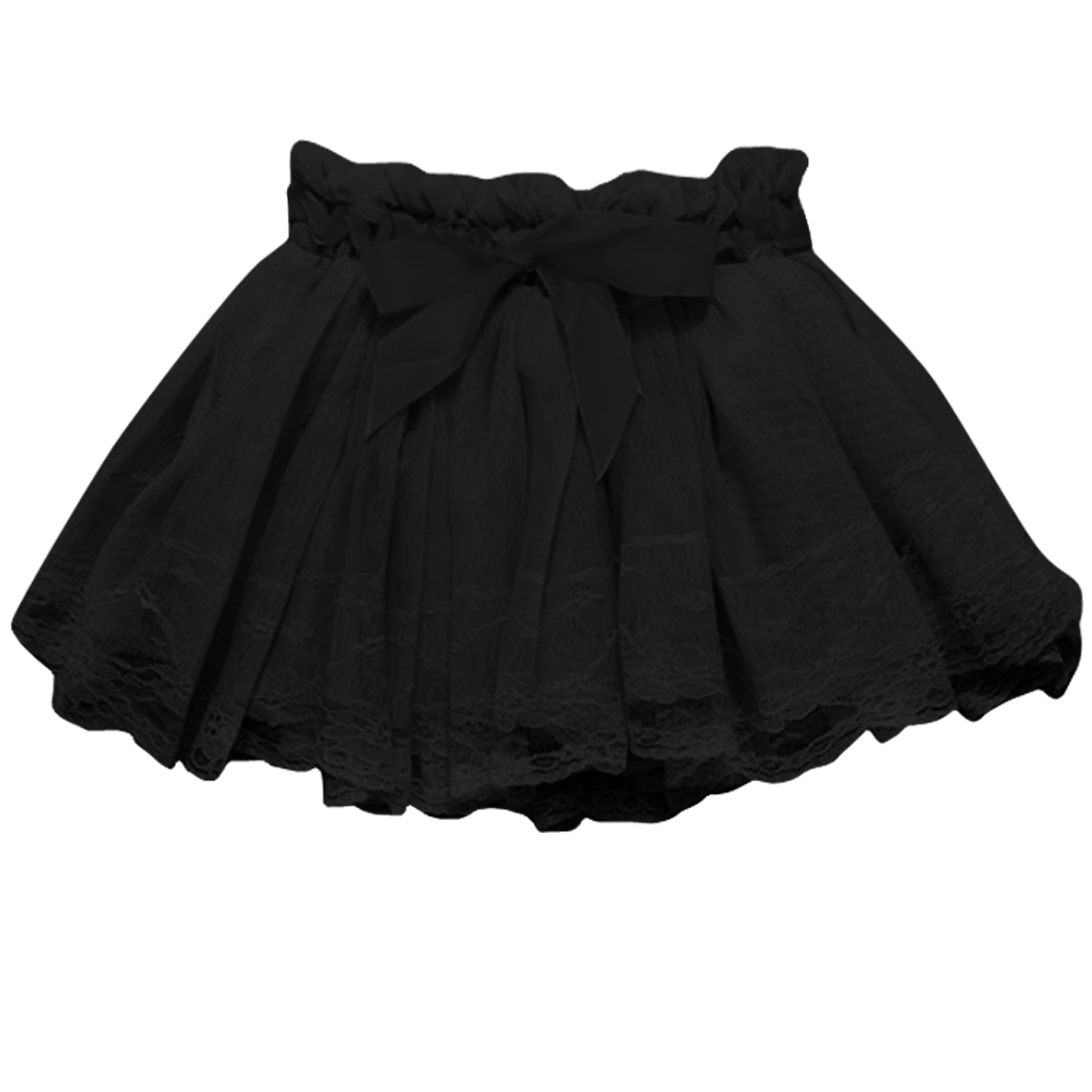 Girls Elastic Waist Solid Color Elagant Kids Skirt 4 Black