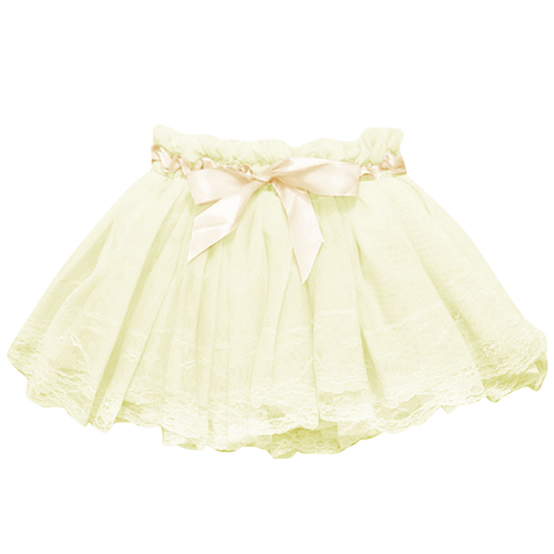 Yellow 4T Elegant Pleated Casual Solid Color Girls Kids Skirt