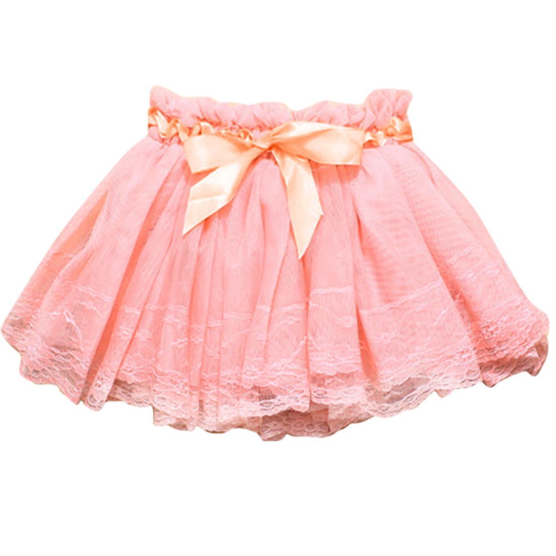 2T Pink Elegant Pleated Design Solid Color Casual Girls Kids Skirt