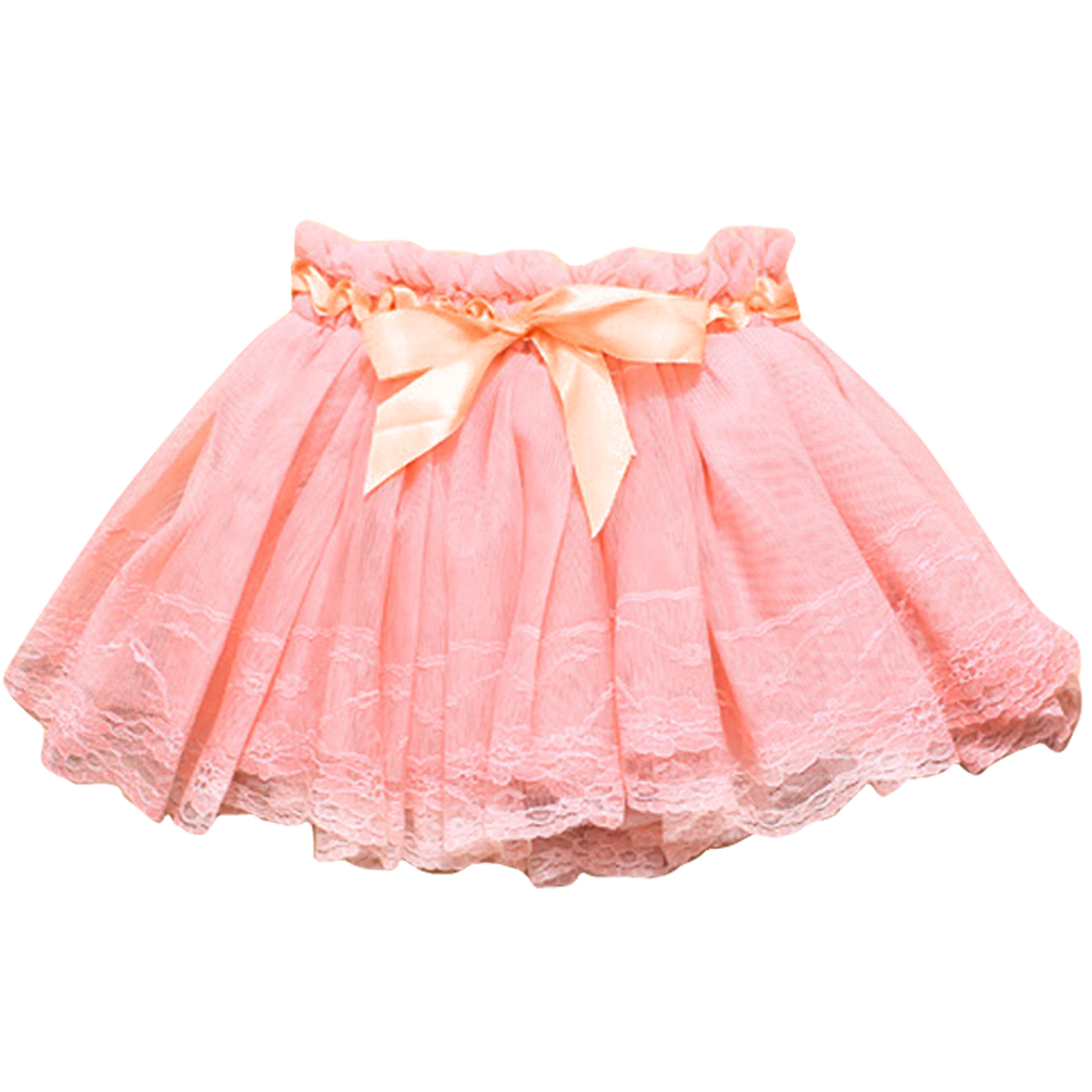 Girls Lace Crochet Style Stretchy Waist Kids Skirt 3T Pink