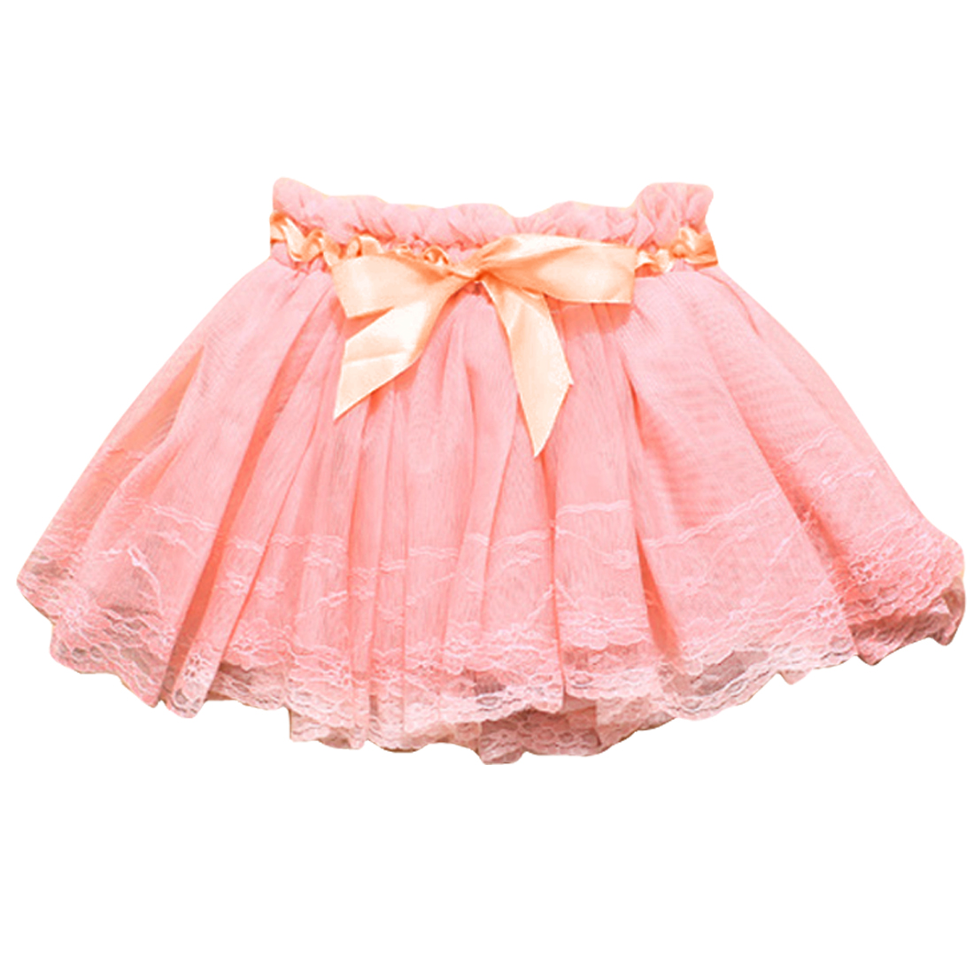Girls Elastic Waist Solid Color Round Hem Elagant Skirt Pink 4
