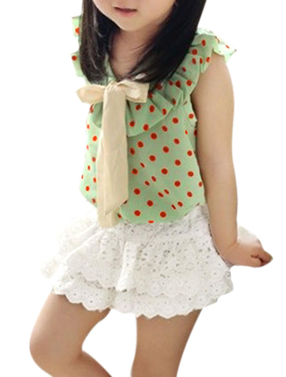 Kids Girls Sleeveless Strap Dots Pattern Blouse w Stretchy Waist Skort Light Green White US Size 4