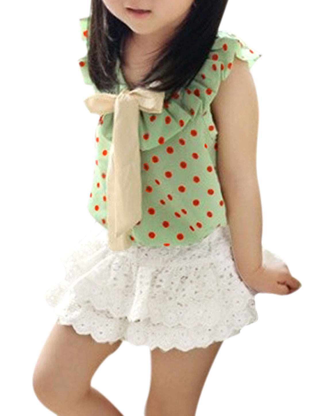 Lovely Kids Girls Ruffle Neckline Dots Prints Blouse w Crochet Skort Light Green White US Size 8