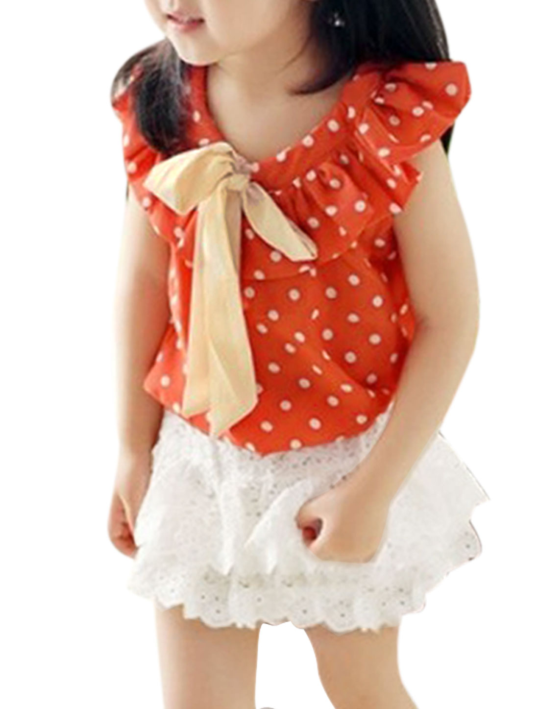 Child Girls Dots Pattern Decor Sleeveless Floral Design Crochet 2 Piece Set Orange White US Size 6