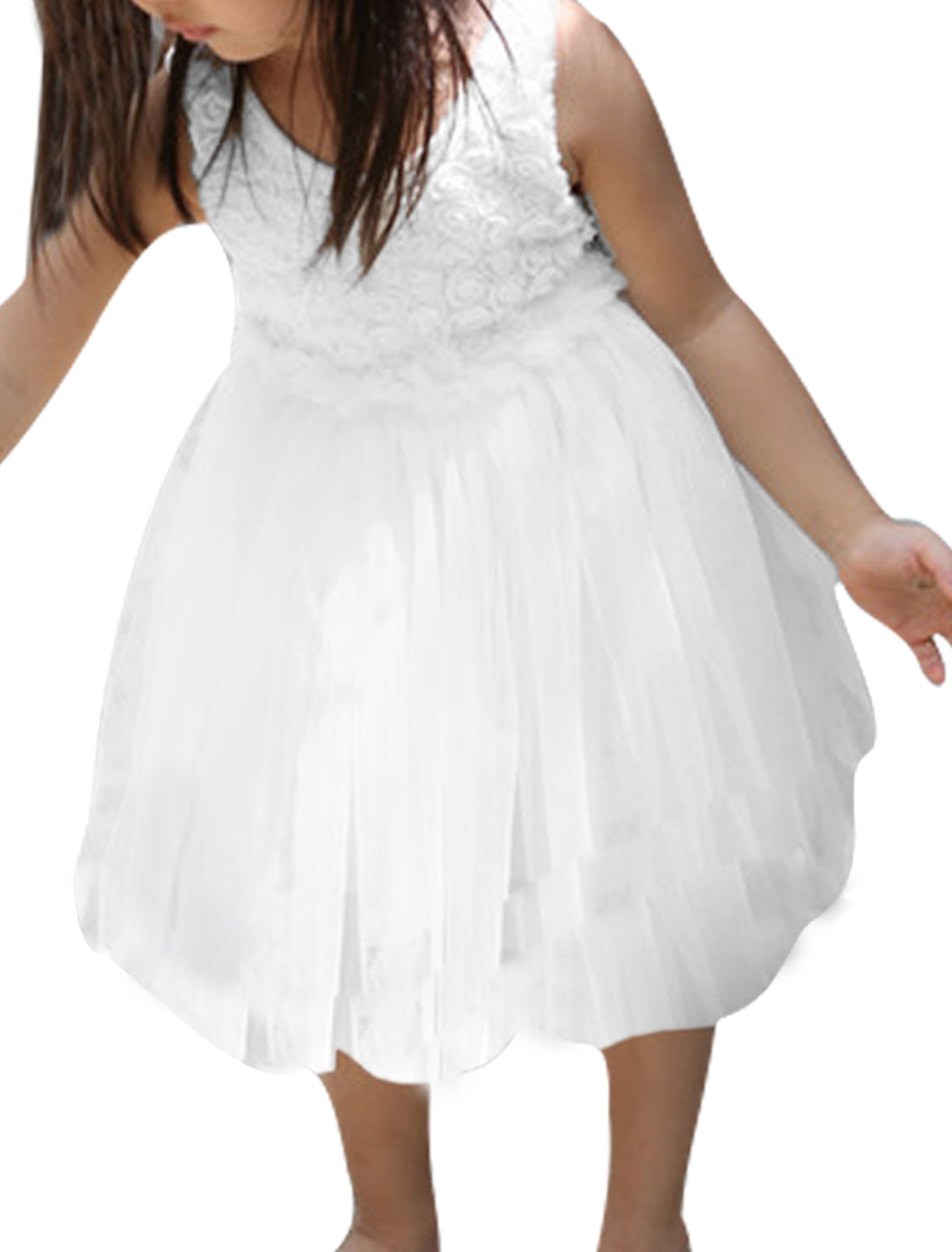 Girl Sleeveless Floral Design Mesh Panel Pleated Dress White 4T