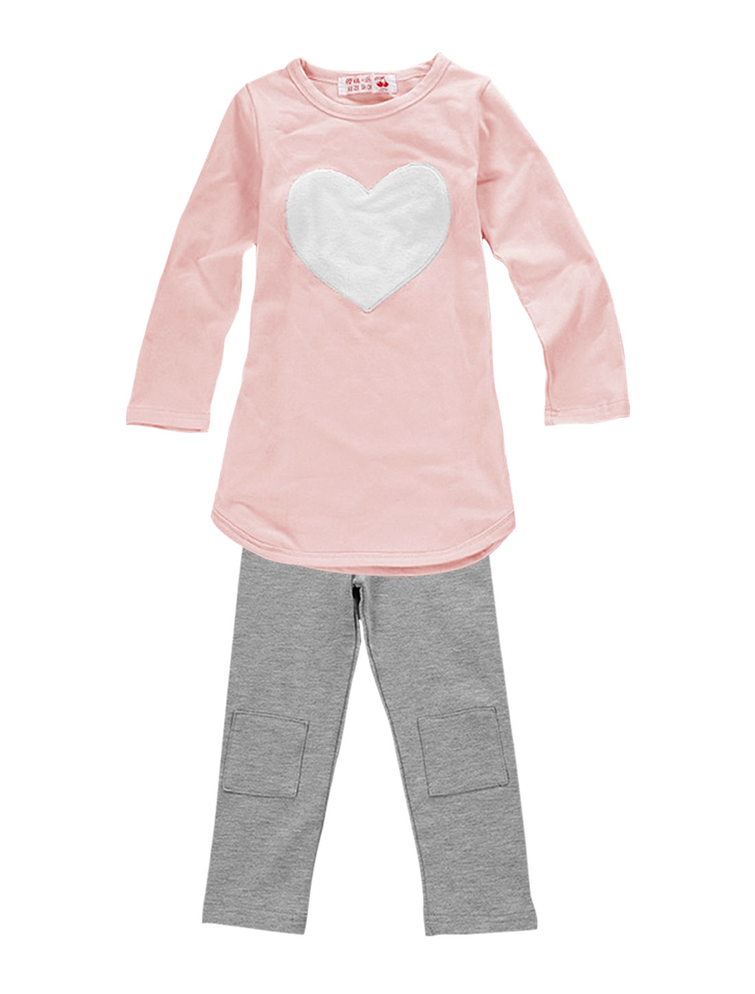 Girls Heart Shape Panel Top w Elastic Waist Pants 3-Pieces Sets Pink Gray 4