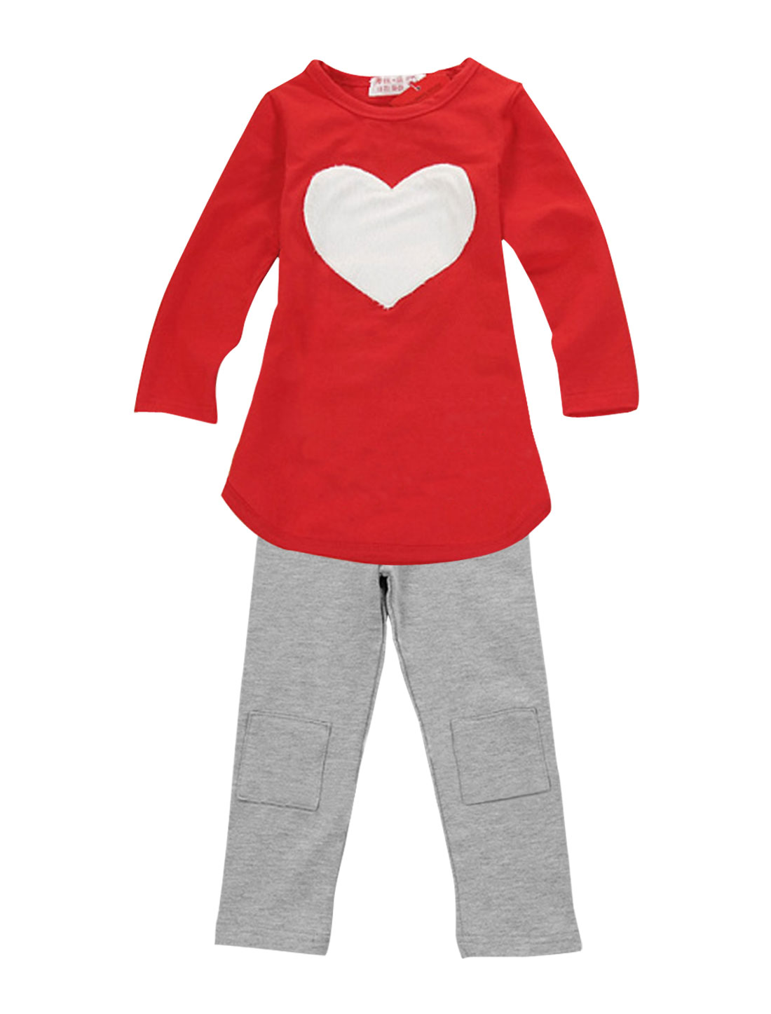Girls Heart Shape Panel Top w Elastic Waist Pants 3-Pieces Sets Red Gray 5