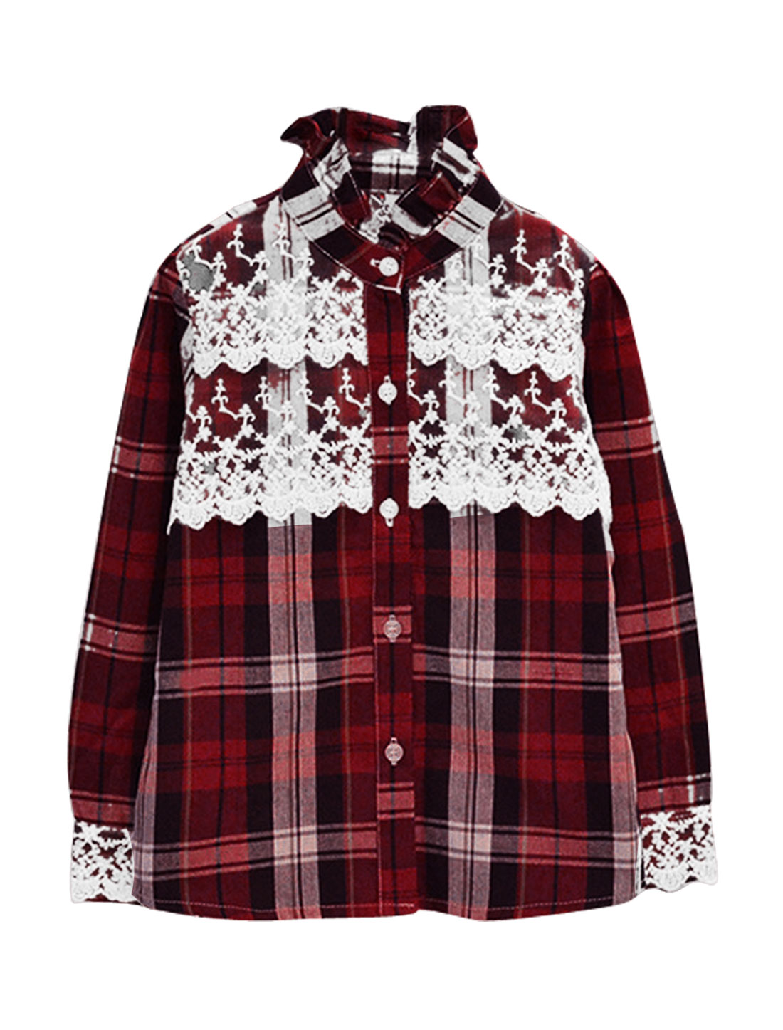 Girls Plaids Pattern Lace Splice Button Front Fitted Burgundy Shirt US Size 4