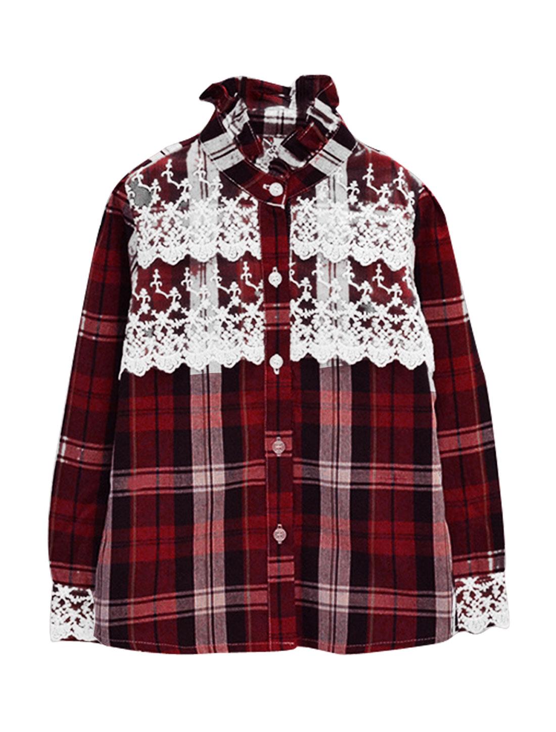 Kids Girls Single Breasted Plaids Pattern Lace Decor Detail Slim Fit Shirt Burgundy US Size 10