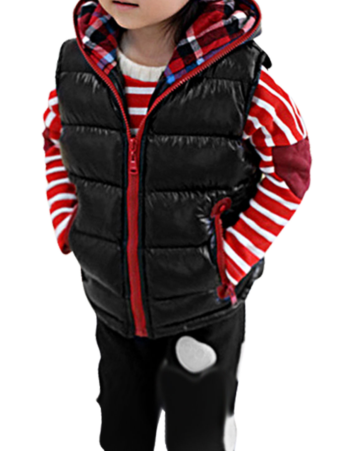 Girls Hooded Sleeveless Plaids Detail Autumn Vest Black 10