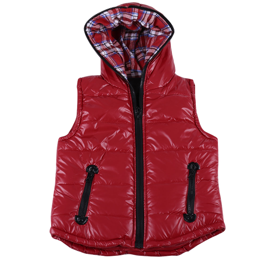 Girls Hooded Pockets Front Spring Wearing Warm Vest Red 8