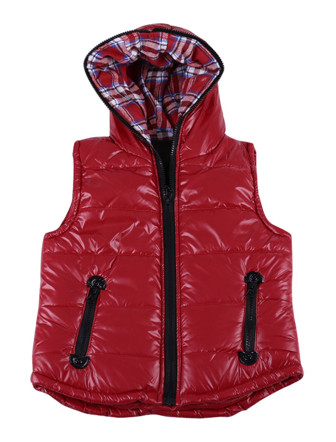 Girls Zipper Embellished Pockets Spring Autumn Vest Red 12