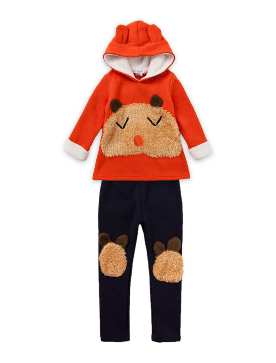 Girls Hooded Cartoon Bear Tops & Soft Pants Orange Red Navy Blue 2T