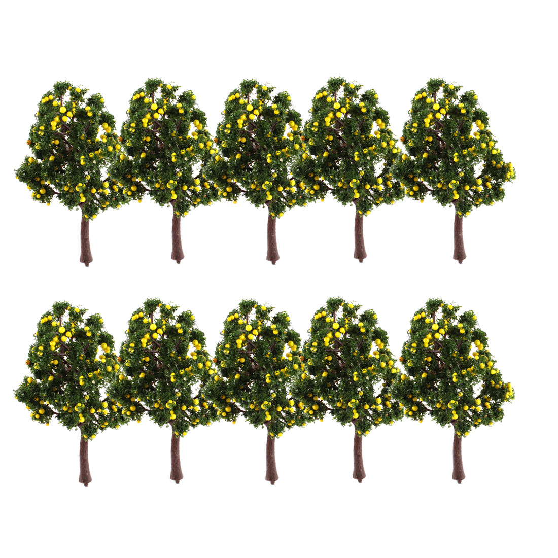 "10Pcs Artificial Plastic Dark Green Leaf Yellow Fruit Model Tree 4.9"" High 1:100"