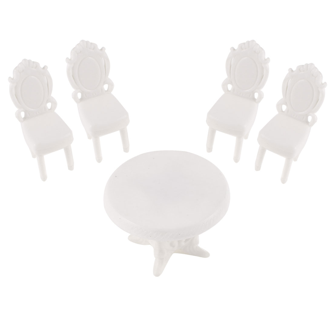 5 Pcs Unpainted Model Round Table Chairs for Indoor Living Room Layout