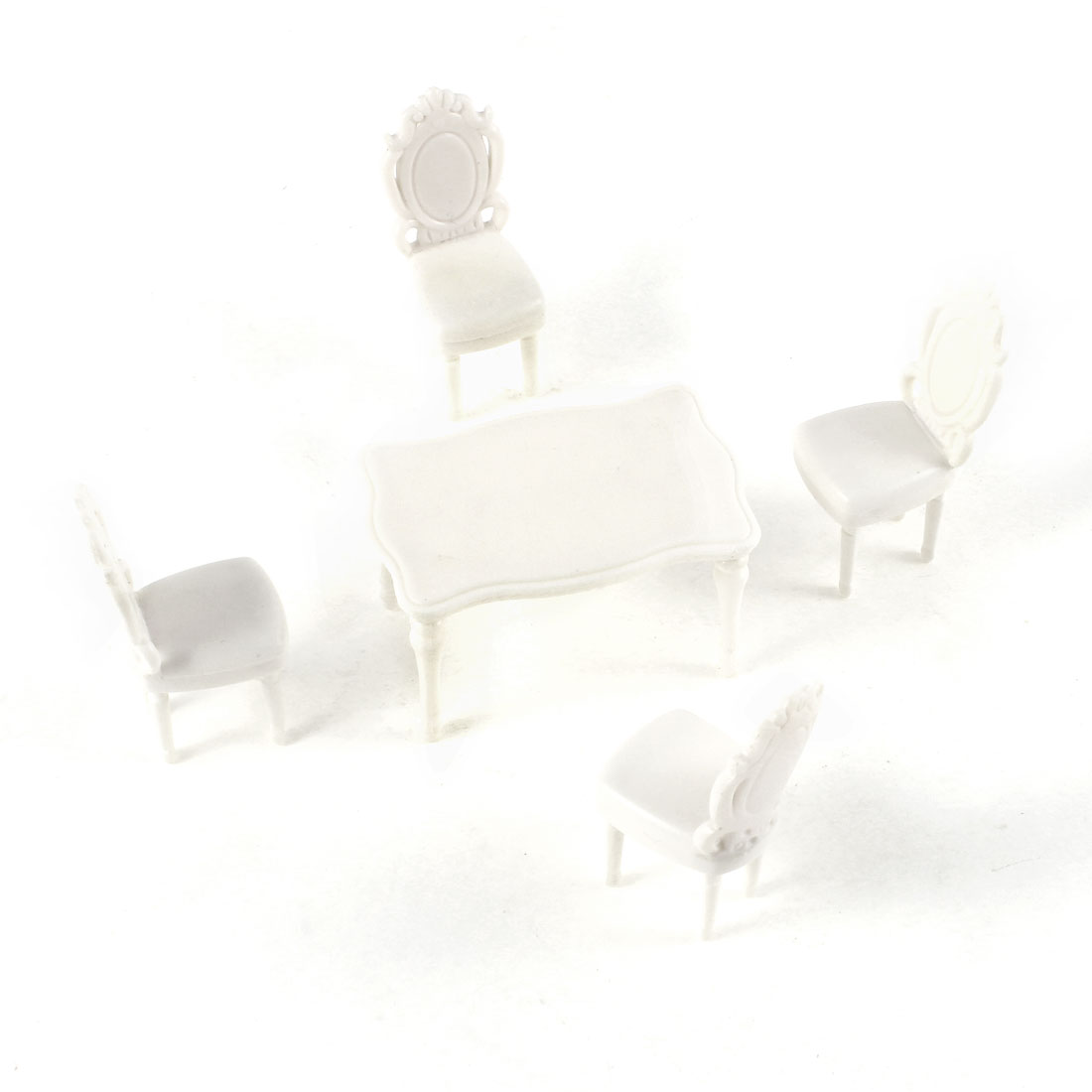 5 Pcs Unpainted Model Square Table Chairs for Indoor and Living Room Layout