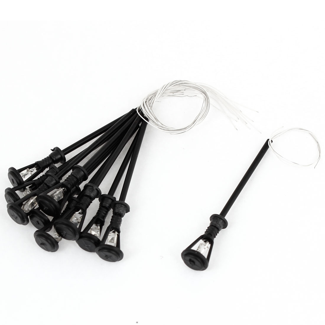 10pcs Black Plastic 1:100 Model Lamppost White LED Street Light 2.12""