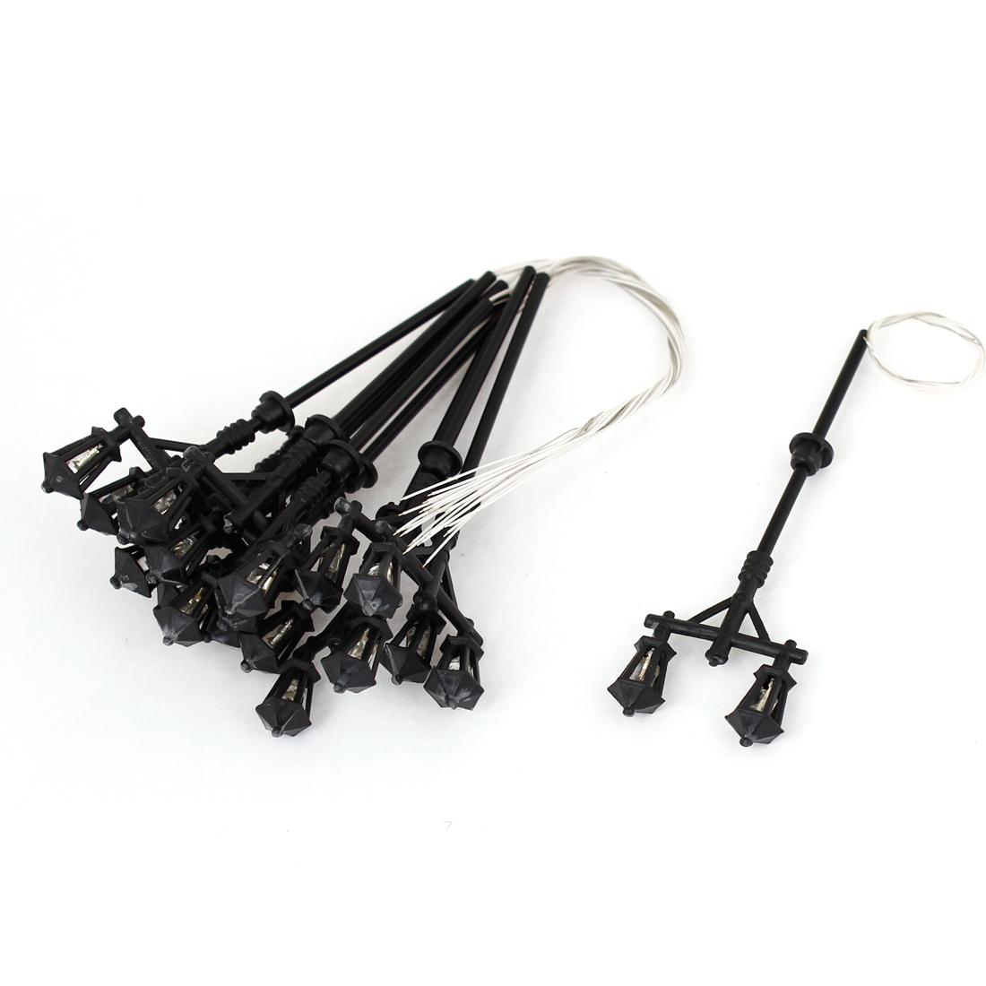 """10pcs Black Plastic Dual Head 1:100 Model Lamppost White LED Street Light 2.71"""""""